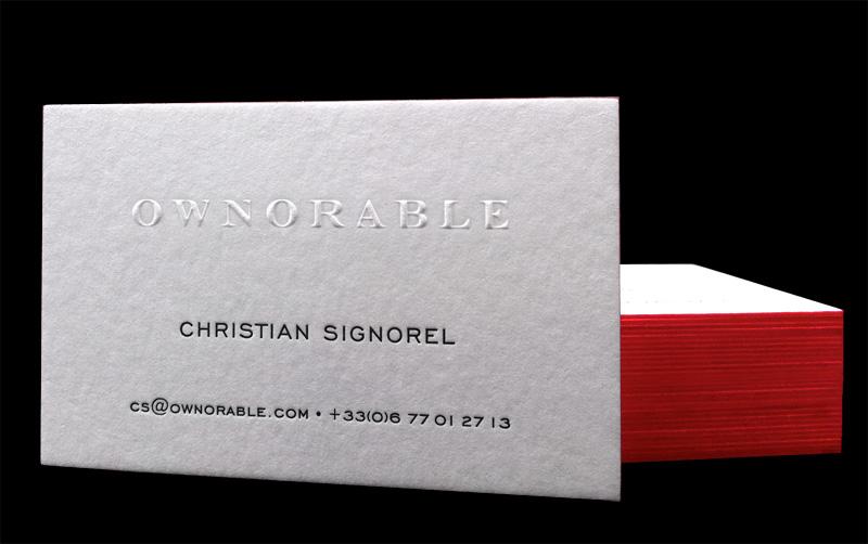 Impression Carte De Visite 85 X 55 Cm Gaufrage Et Debossage 1 Couleur Sur Papier 500g Tranches Design Par Christian Signorel