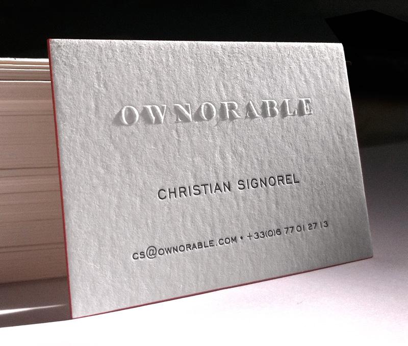 Impression Carte De Correspondance 10 X 21 Cm Gaufrage Et Debossage 1 Couleur Sur Papier 350g