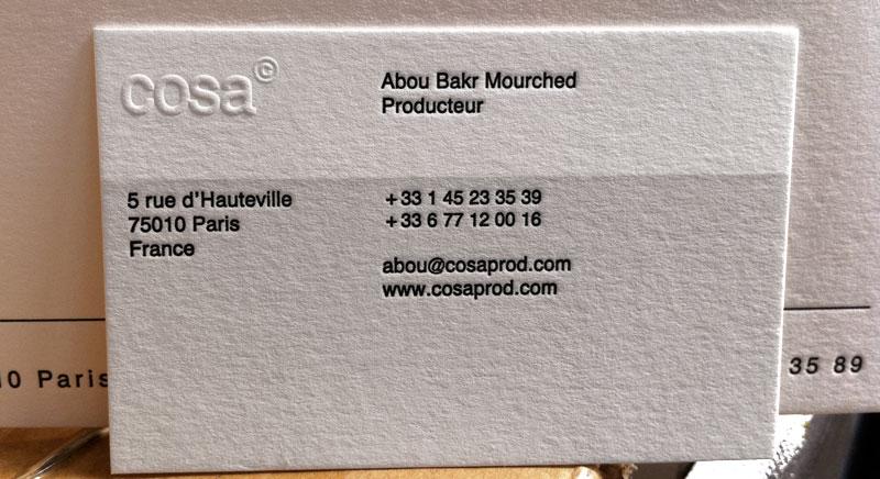 Impression Carte De Visite 85 X 55 Cm Gaufrage Et 2 Couleurs R Sur Papier 350g