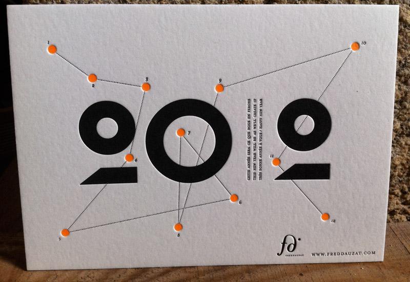 Très Carte de voeux letterpress Fred Dauzat QB82