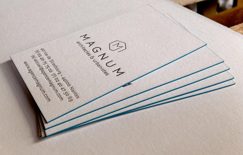 Impression Carte De Visite 85 X 55 Cm Dbossage 1 Couleur Et Pur R V Tranches Sur Papier Duplex 2x300g