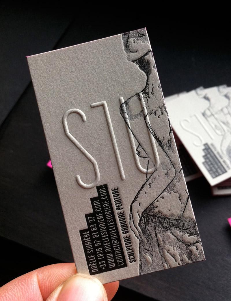 Impression Carte De Visite 85 X 55 Cm Et Dbossage 3 Couleurs Gaufrage R V Tranches Couleur Sur Papier Duplex 2x300g