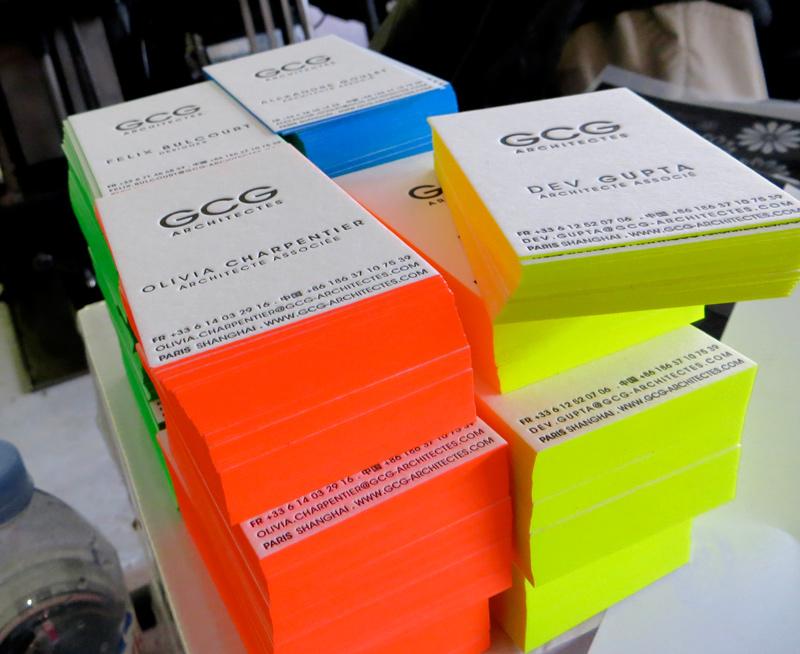 Impression Carte De Visite 85 X 55 Cm Debossage 1 Couleur R Fluo Sur Tranches Papier 500g