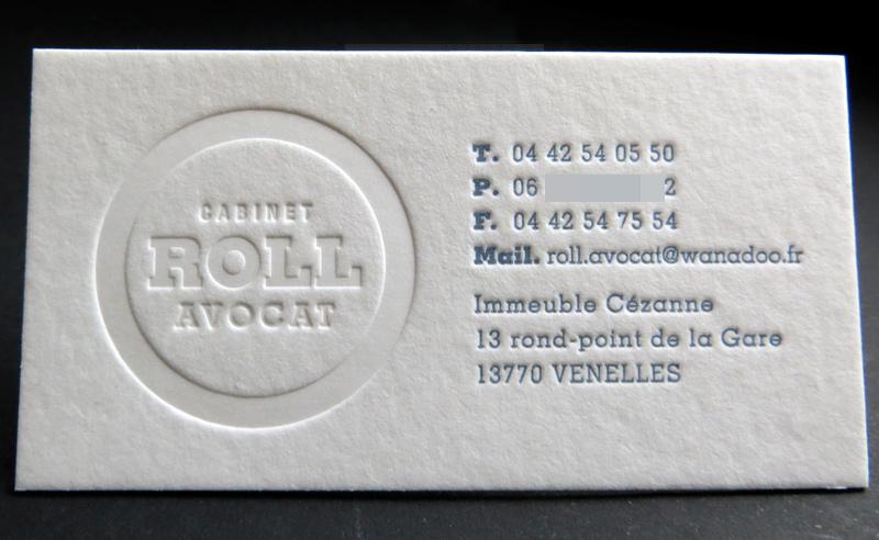 Impression Carte De Visite 9 X 5 Cm Debossage Pur Et 1 Couleur R Sur Papier 500g