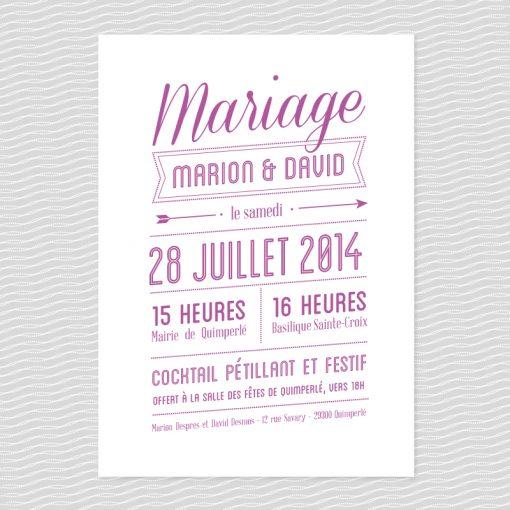 Badcass - Faire-part de mariage en letterpress - 1 couleur