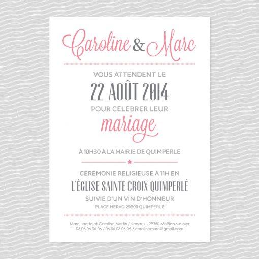 Badcass - Faire-part de mariage en letterpress - 2 couleurs