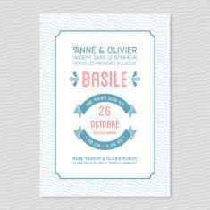 Badcass - Faire-part de naissance en letterpress - 2 couleurs