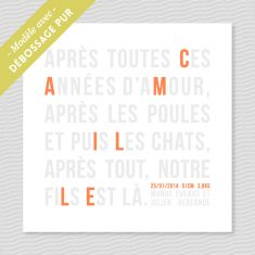 Badcass - Faire-part de naissance en letterpress