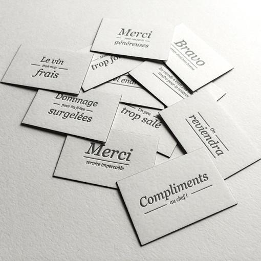 Badcass - Cartes à distribuer en letterpress