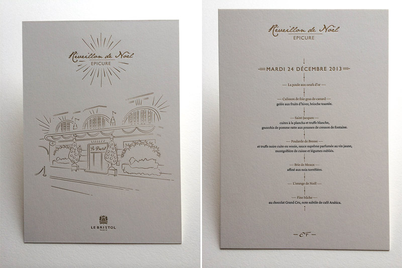 Badcass - Menu en letterpress - Restaurant Le Bristo