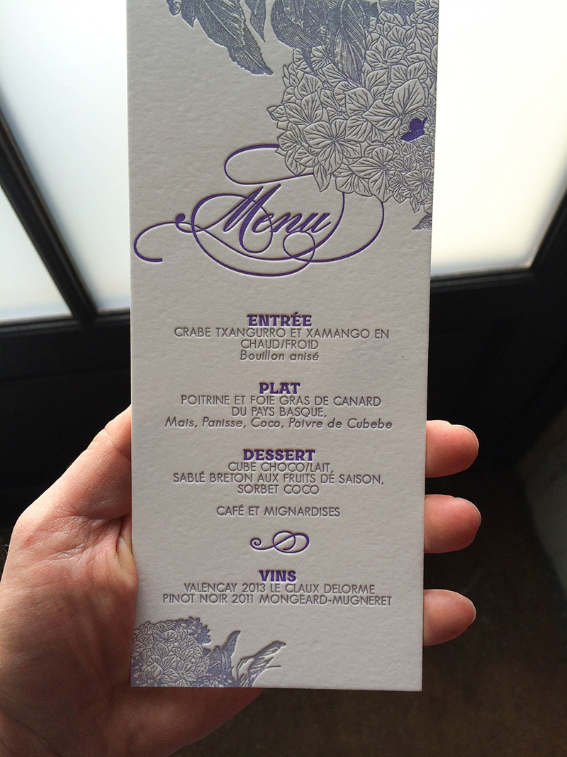 Badcass - Menu de mariage en letterpress