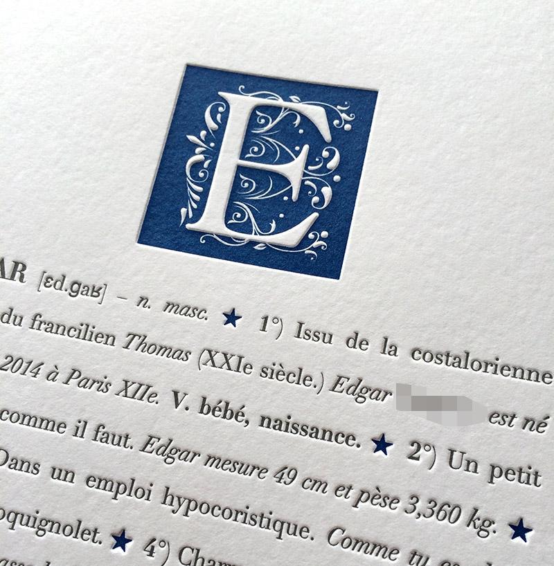 Faire-part de naissance en letterpress