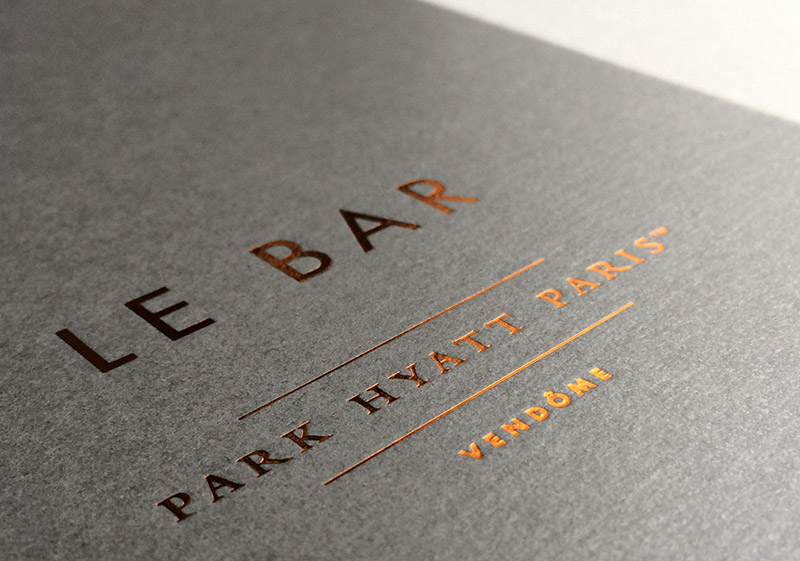 Badcass - Couverture de menus - Palace Park Hyatt Paris