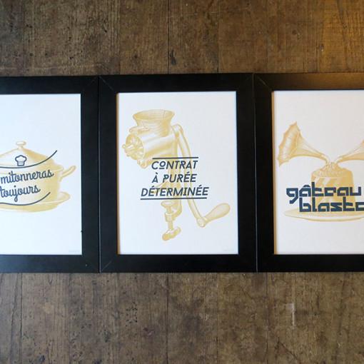 Badcass - Série de 3 affiches en letterpress