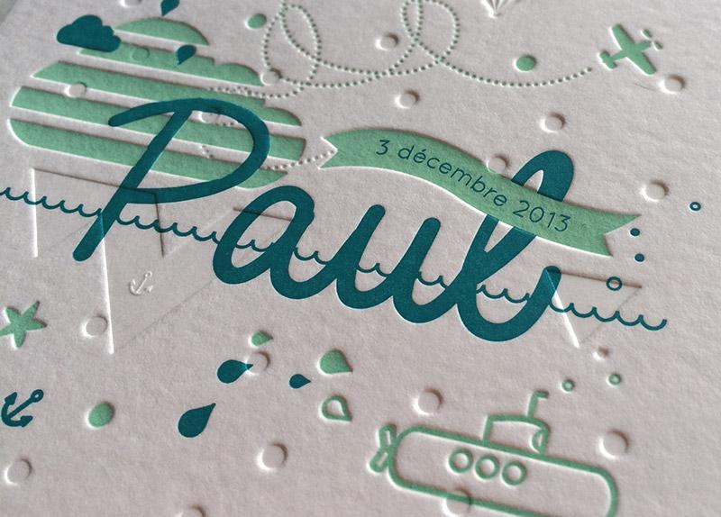 Badcass - Faire-part de naissance en letterpress